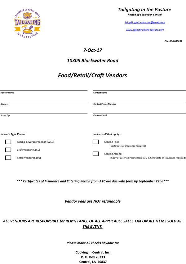 Fall Tailgate Vendor - Craft - Retail Forms 2017b